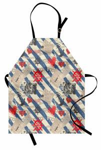Kırmızı Kalp ve Marin Mutfak Önlüğü Mavi Fon
