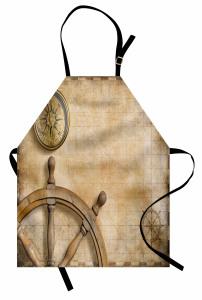 Dümen ve Pusula Desenli Mutfak Önlüğü Kahverengi Fonlu