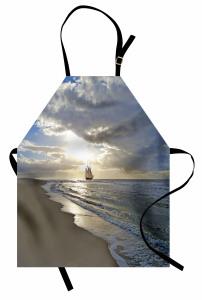 Denizde Bir Yelkenli Mutfak Önlüğü Denizde Yolculuk Temalı
