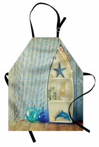 Deniz Yıldızı ve Ağ Mutfak Önlüğü Deniz Yıldızı Balıkçı Dekoru