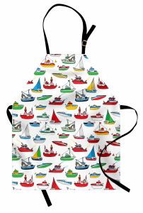 Renkli Gemi Desenleri Mutfak Önlüğü Rengarenk Gemi Desenleri