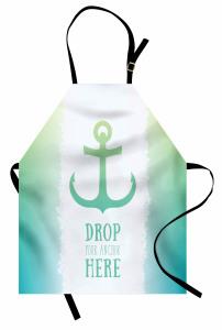 Çapa Baskılı Mutfak Önlüğü Deniz Yeşil Mavi Trend