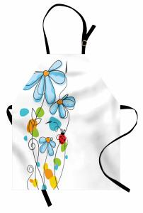 Çiçek ve Uğur Böceği Mutfak Önlüğü Çeyizlik Şık Mavi Beyaz