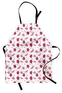 Sevimli Uğur Böcekleri Mutfak Önlüğü Çeyizlik Şık Çiçek Kırmızı