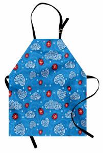 Kalp ve Uğur Böceği Mutfak Önlüğü Çeyizlik Mavi Kırmızı Çiçek