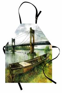 Nehirdeki Tarihi Köprü Mutfak Önlüğü Nehir Kenarı
