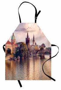 Nehir ve Köprü Mutfak Önlüğü Nehir Kıyısı Gotik