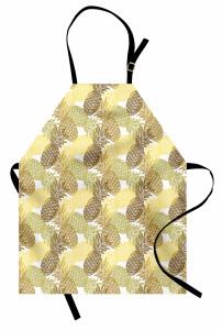 Ananas Desenli Mutfak Önlüğü Sarı Yeşil ve Kahverengi