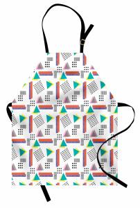 Rengarenk Geometrik Mutfak Önlüğü Beyaz Fonlu