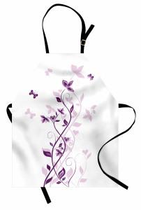 Şık Çiçek ve Kelebek Mutfak Önlüğü Menekşe Çiçeği Desenli Bahar Temalı