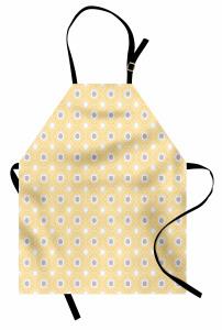 Yıldız Çiçek Desenli Mutfak Önlüğü Şık Tasarım Yonca Desenli Beyaz Gri