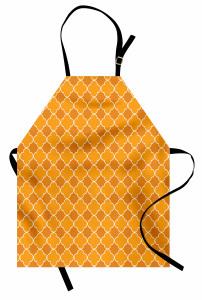 Turuncu Yonca Desenli Mutfak Önlüğü Şık Tasarım Sarı Yonca Desenli