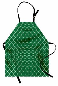 Yeşil Yonca Desenli Mutfak Önlüğü Şık Tasarım Beyaz Yonca Desenli