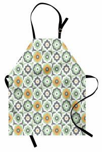 Turuncu Yeşil Çiçekler Mutfak Önlüğü Şık Tasarım Turuncu Çiçek Desenli