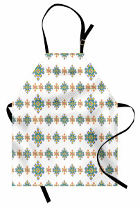 Turuncu Mavi Kilim Mutfak Önlüğü Beyaz Fonlu
