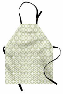 Yeşil ve Gri Geometrik Mutfak Önlüğü Beyaz Fon