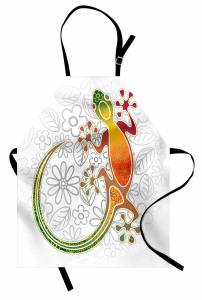 Kurbağa ve Çiçek Mutfak Önlüğü Rengarenk