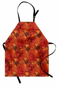 Kırmızı Çiçek Şık Mutfak Önlüğü Çiçekli Şık Tasarım Kırmızı Sarı