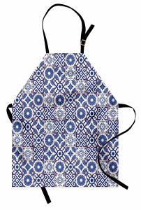 Çini Desenli Mutfak Önlüğü Mavi Beyaz Kareli