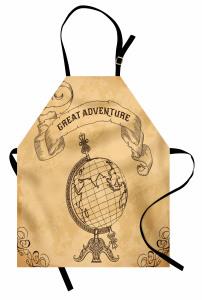 Dünya Haritası Temalı Mutfak Önlüğü Retro Kahverengi
