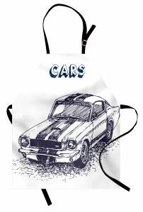 Otomobil Desenli Mutfak Önlüğü Siyah Beyaz Elle Çizim