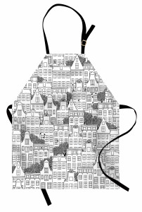 Ev Desenli Mutfak Önlüğü Siyah Beyaz Elle Çizim Şık