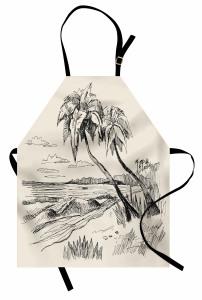 Deniz ve Palmiye Mutfak Önlüğü Elle Çizim Krem