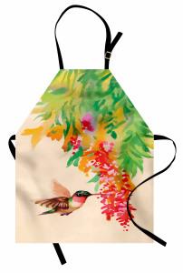 Kuş ve Çiçek Desenli Mutfak Önlüğü Rengarenk Çeyizlik