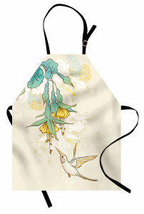 Yeşil Çiçek ve Kuş Mutfak Önlüğü Çeyizlik Şık
