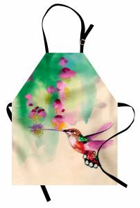 Çiçek ve Kuş Desenli Mutfak Önlüğü Sulu Boya Çeyizlik