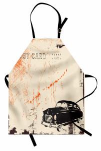 Klasik Araba Desenli Mutfak Önlüğü Nostaljik Krem