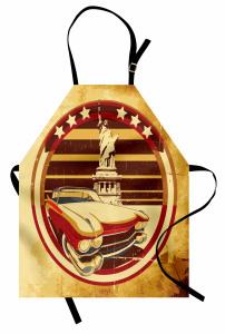Retro Araba Temalı Mutfak Önlüğü Sarı Özgürlük Anıtı