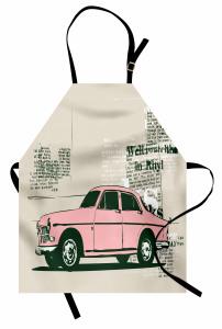 Pembe Araba Desenli Mutfak Önlüğü Nostaljik Retro Şık