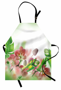 Çiçek Desenli Mutfak Önlüğü Orkide Şık Tasarım Yeşil