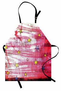 Yıldız Desenli Mutfak Önlüğü Kırmızı Sarı Lacivert