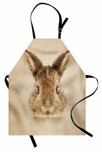 Tavşan Portreli Mutfak Önlüğü Kahverengi Nostaljik