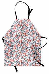 Çiçek Desenli Mutfak Önlüğü Kırmızı Lacivert Trend