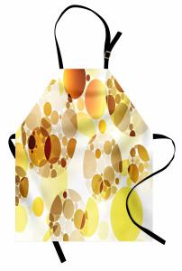 Daire Desenli Mutfak Önlüğü Sarı Kahverengi Çeyizlik