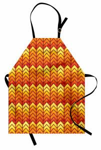 Zikzak Desenli Mutfak Önlüğü Sarı Turuncu Zikzaklar