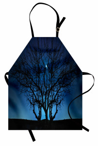 Ay Işığı ve Yıldızlar Mutfak Önlüğü Ağaç Siyah