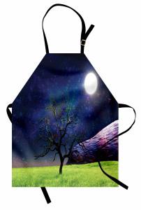 Ay Işığı ve Ağaç Mutfak Önlüğü Ay Işığı Kozmos Evren Mor