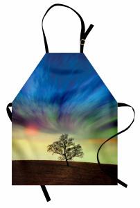 Yalnız Ağaç Mutfak Önlüğü Sürreal Gökyüzü
