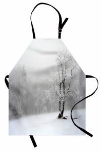 Karlı Ağaç Mutfak Önlüğü Ormanda Karlı Hava Beyaz