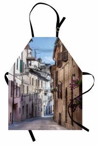 Nostaljik İtalya Sokağı Mutfak Önlüğü Antik İtalyan Sokağı Temalı