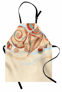 Deniz Kabuğu Mutfak Önlüğü Pastel Renkler Eskiz