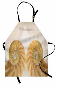 Şık Deniz Kabuğu Mutfak Önlüğü Trend Krem Rengi