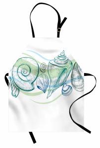 Pastel Deniz Kabuğu Mutfak Önlüğü Pastel Eskiz Yeşil