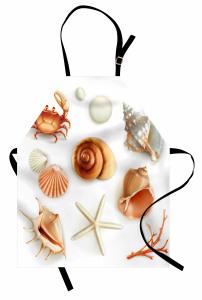Deniz Canlıları Mutfak Önlüğü Yengeç Kahverengi