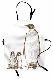Penguen ve Yavruları Mutfak Önlüğü Siyah Beyaz