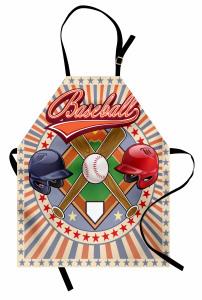 Beyzbol Temalı Mutfak Önlüğü Kırmızı Oyun Top Sopa